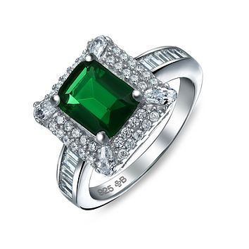 Green Baguette Band CZ Emerald Cut Engagement Ring 925 Sterling Silver