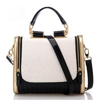 Qossi New Fashion Hot Sale Retro Korean Style PU Leather Handbag Shoulder Bag Black