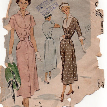 McCall 7694 Vintage 1940s Sewing Pattern Button Front Fitted Dress Straight Skirt Bib Yoke Neckline Wing Collar Cuffs Hip Pockets Bust 32