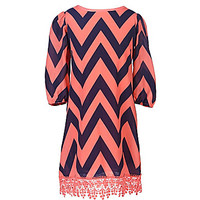My Michelle 7-16 Chevron Print Shift Dress - Coral