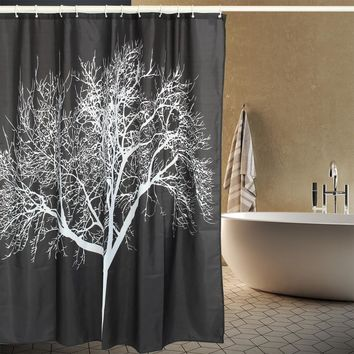 2017 Polyester White Tree Bamboo Scenery Print Shower Curtain Waterproof Anti Mildew Thicken Home Bath Curtain Bathroom Product