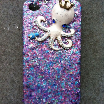 Royal Octopus Mixed Glitter iPhone 4 4s Hard Cover by kaylafenton