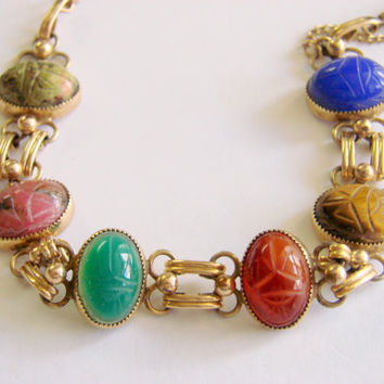 1940s Genuine Hand Carved Gemstone Scarab Bracelet Gold Filled Egyptian Revival Semi Precious Hard Stones