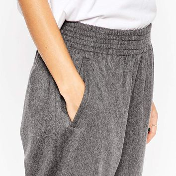 ASOS WHITE Tapered Trousers in Wool Mix