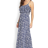 Flounced Floral Maxi Dress