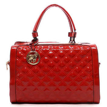 Red Quilted Boston Bag Purse