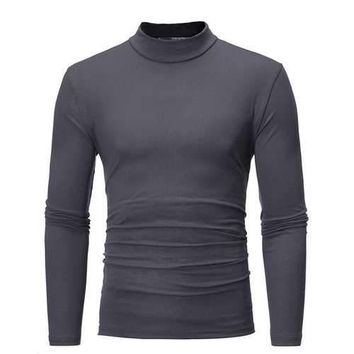 Mens Fall Winter Brief Style Solid Color Stand Collar Long Sleeve Casual T-shirt