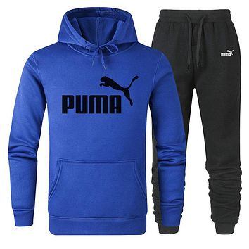 PUMA Trending Women Men Popular Casual Print Hoodie Sweater Pants Sport Set Two-Piece Blue