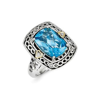 Antique Style Sterling Silver with 14k Yellow Gold Diamond & Blue Topaz Ring