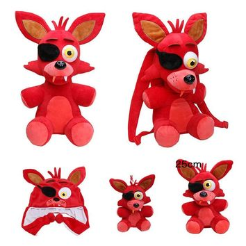 at  Plush Freddy Bear Red Foxy Horrible Games Nightmare Foxy Springtrap Plush Cap Backpack Doll Toys