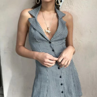Summer women's bloggers ins star with retro single-breasted lapels halter plaid dress