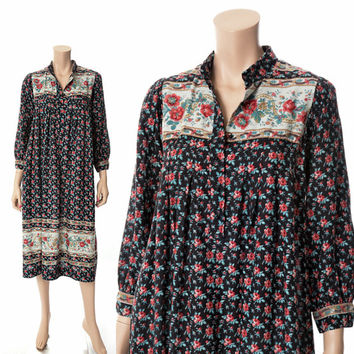 Vintage 70s Gypsy Floral Dress 1970s Bohemian Peasant Boho Hippie Folk Prairie Grunge Midi Dress Ayres / X-Small / Small