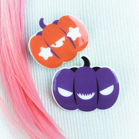 Kawaii Fairy Kei Pastel Goth Creepy Cute Halloween Inspired Purple Pumpkin Pin Brooch 2 Pack