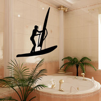 Wall Decals Vinyl Decal Sticker Murals Bathroom Decor Woman Wind Surfing Kj669
