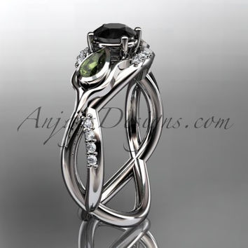 Unique 14kt white gold diamond tulip flower, leaf and vine engagement ring with a Black Diamond center stone ADLR226