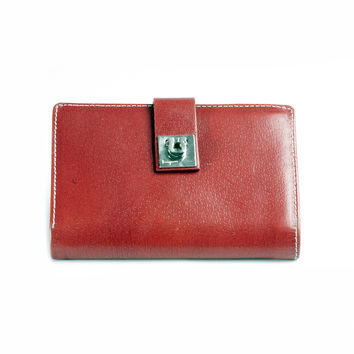 Salvatore Ferragamo Red Leather Wallet. Made In Italy