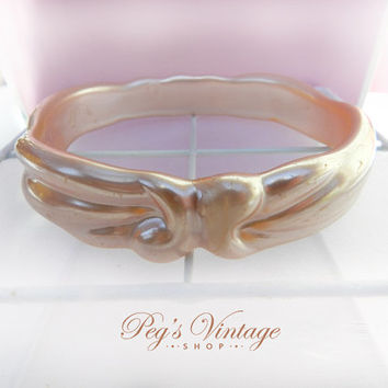 Vintage Pale Pearl Pink Bangle/Bracelet, Lucite Carved Bangle