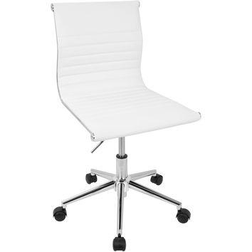 Master Contemporary Armless Adjustable Office Task Chair, White