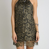 Black & Gold Lace Party Dress