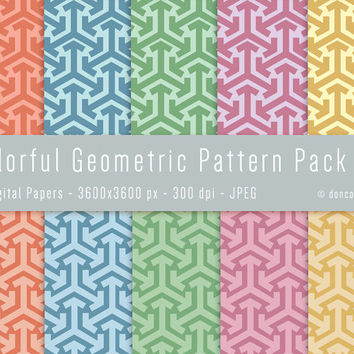 10 Colorful Gift Wrapping Paper Geometric Digital Patterns Backgrounds Pack 2 - 300 dpi - JPEG - 3600x3600px