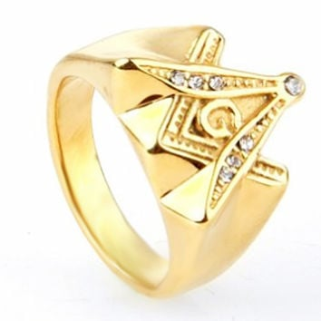 Gold Freemason Masonic Rings, Stainless Steel fashion Mosaic CZ crystals Vintage band ring