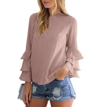 Elegant Ruffled Sleeve O-Neck Blouse