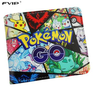 FVIP New Hot Game Pokemon Go Wallet Monster Charizard Pikachu Poke Short Wallets Bifod Card Holder Purse For Teenagers