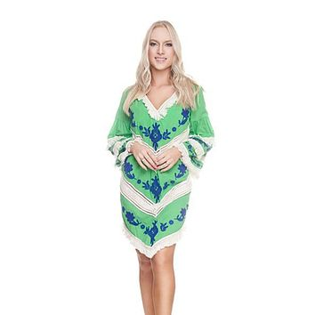 Mint New Tribal Tunic Cover-up Dress