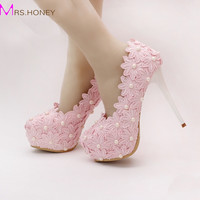 2016 Beautiful Pink Lace Flower Wedding Shoes Round Toe Women Formal Dress Shoes High Heel Bridesmaid Shoes Prom Party Pumps
