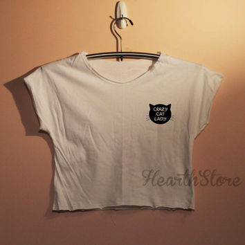 Crazy Cat Lady Shirt Crop Top Midriff Mid Driff Belly Shirt Women - size S M