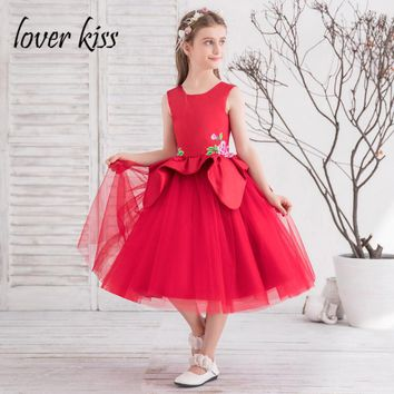 Lover Kiss robe fille fleur Pretty Red Flower Girl Dresses For Wedding Party 2018 Tulle and Satin Pageant Kids Ball Gowns