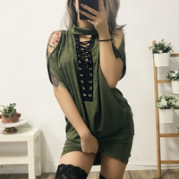 Vixen Cold Shoulder Lace Up T-Shirt Dress (OLIVE)