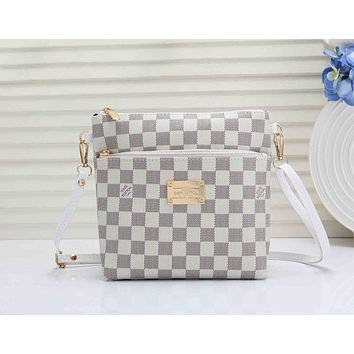 LV Fashionable Women Shopping Louis Vuitton Leather Shoulder Bag Crossbody Satchel White Check