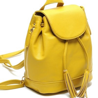 Yellow Faux Leather Bucket Backpack with Tassel