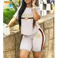 GUCCI Fashion New Letter Stripe Print Sports Leisure Top And Shorts Two Piece Suit Apricot