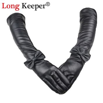 Vintage Ladies' Leather Gloves Full Finger Bowknot Elbow Long Gloves Women Sexy Sleeves Winter Black Glove 50cm Length M201
