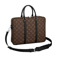 Monogram Macassar Canvas Porte-Documents Voyage PM Briefcase Laptop Bag Article: M52005