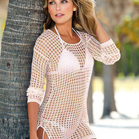 Crochet Knit Long Sleeve Side Slit Cover-up