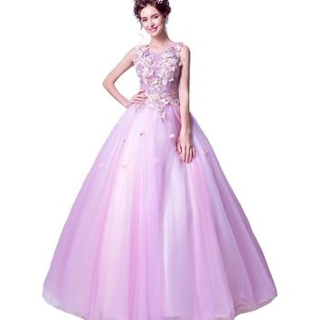 New Sweet Lace Flowers Evening Dress The Bride Banquet Luxury Appliques Sleeveless A-line Long Prom Party Gowns