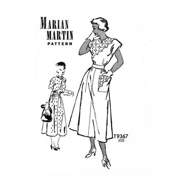 1940s Vintage Sewing Pattern Dress and Bolero Bust 36 Mail Order Marian Martin T9367 Kimono Sleeve Dress, Asymmetrical Scallop Bodice