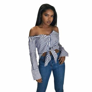 Dropship tops Women Off Shouder Striped Shirt Summer Clothes Casual Blue and white stripes sexy strapless long shirt #GH30
