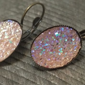 Druzy earrings- ab Light pink drusy bronze tone dangle druzy earrings