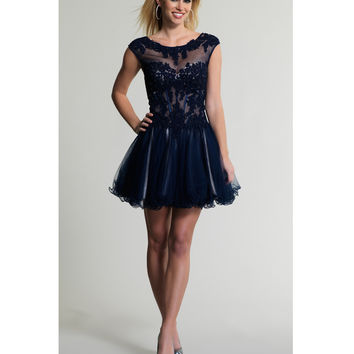 Dave & Johnny 443 Navy Blue Short Cap Sleeve Illusion Dress 2015 Prom Dresses