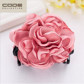2016 Large Peony Crab Hair Clip Flower Hair Claws Ponytail Hair Ornaments Women Hair Accessories Girl Hairgrip Hairclip