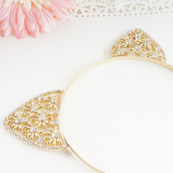 Crystal Cat Ears, Cat Ears Headband, Gold Cat Ears Headband, Gold Crystal Cat Ears, Jewel Cat Ears, Jeweled Cat Ears, Rave Cat Ears