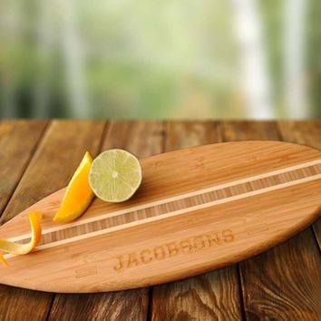 Surfboard Personalized Bamboo Cutting Board