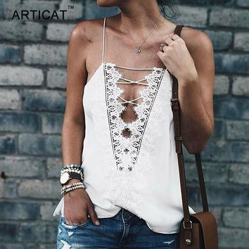 ARTICAT Elegant White Lace Women Tank Top 2017 Summer Beach Pattern Camisole Backless Lace Up Sexy Women Party Club Cropped Tops