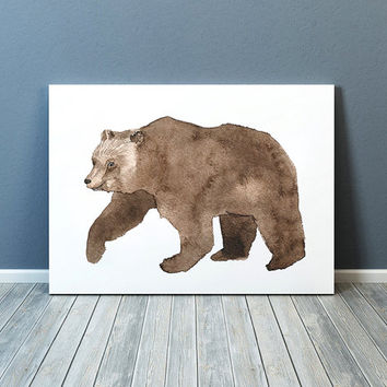 Cute bear poster Nursery decor Watercolor art print ACW34