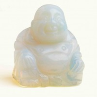 "2"" Opal Glass Stone Buddha Carving"