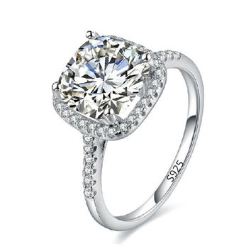 Fashion Big Stone Wedding Ring For Women Vintage Silver Plated CZ Diamond Jewelry Accessories Bague Engagement Bijoux Anel BB035